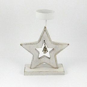 drevený svietnik na čajovú sviečku hviezda