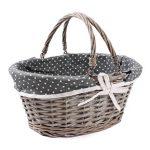 Prútený košík s rúčkami sivý