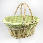 prútený košík s rúčkami zelený