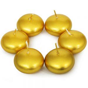 Plávajúce sviečky 6ks zlatá metalik