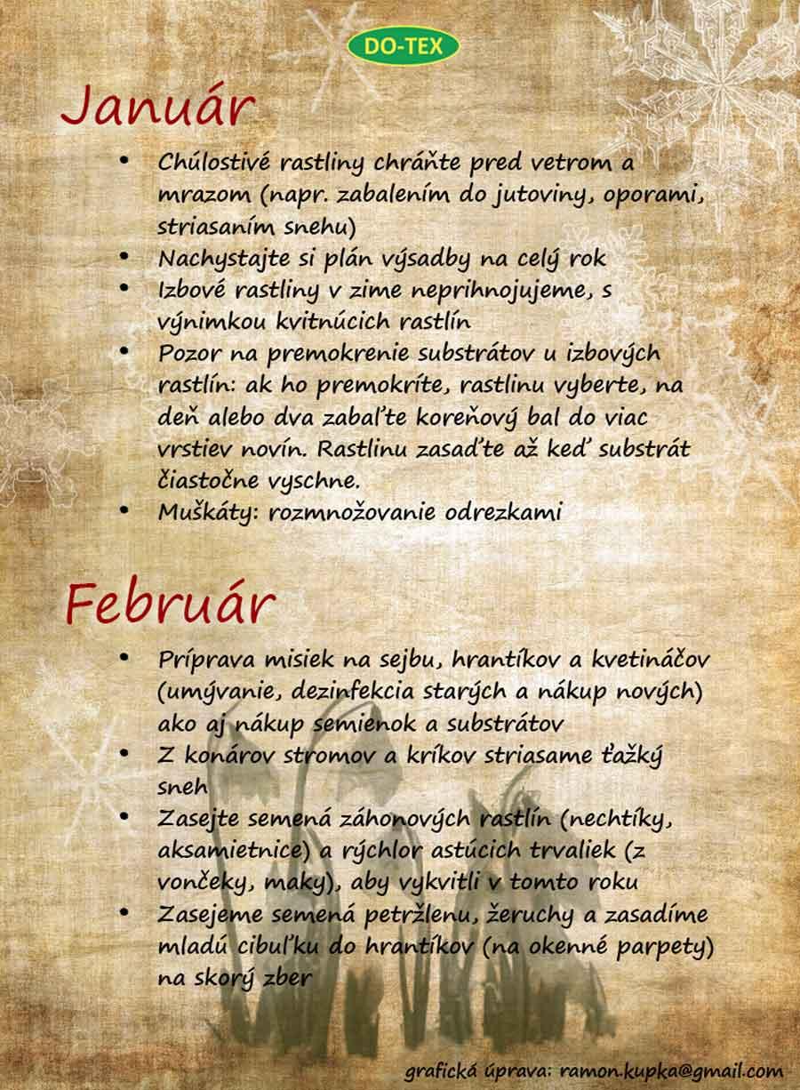 január, február
