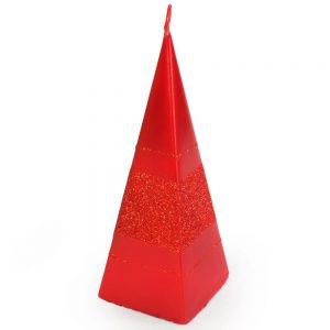 Sviečka briliant pyramída červená 15cm