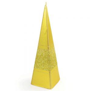 Sviečka briliant pyramída zlatá 15cm