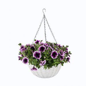 Prútený košík na kvety závesný biely