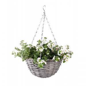Prútený košík na kvety závesný sivý