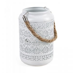 Lampión kovový biely