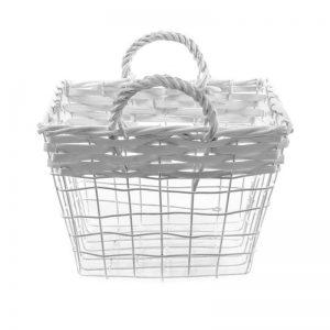 košík drôtený biely