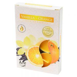Čajové sviečky 6ks vanilka-pomaranč