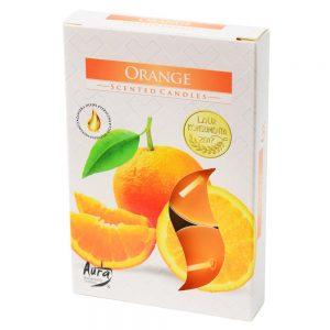 čajové sviečky 6ks pomaranč