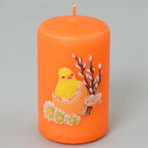 Sviečka kuriatko valec oranžová