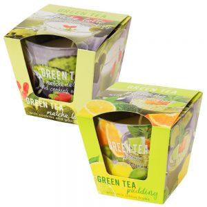 Voňavá sviečka v skle Green tea pudding