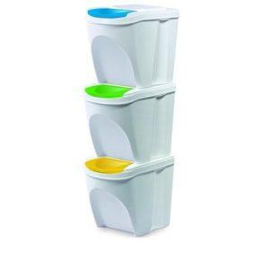 Odpadkový kôš na triedený odpad Sortibox 3ks biely