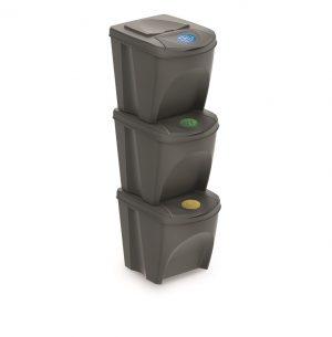 Odpadkový kôš na triedený odpad Sortibox 3ks sivý kameň