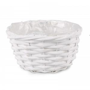 Prútený košík na kvety biely kruh