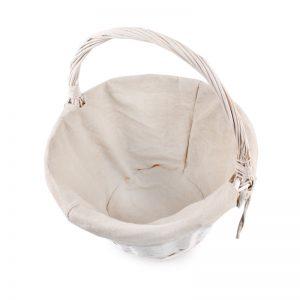 Prútený košík s rúčkou biely kruh
