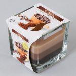 Voňavá sviečka v skle káva trikolor