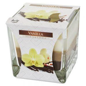 Voňavá sviečka v skle vanilka trikolor