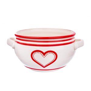 Miska keramika s ušami srdce