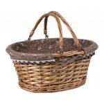 Prútený košík s rúčkami hnedý
