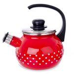 Čajník smalt červený s píšťalou