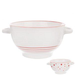 Miska keramika bielo červená