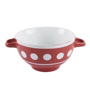 Miska keramika s ušami červená 13cm