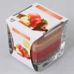 Voňavá sviečka v skle jablko škorica trikolor